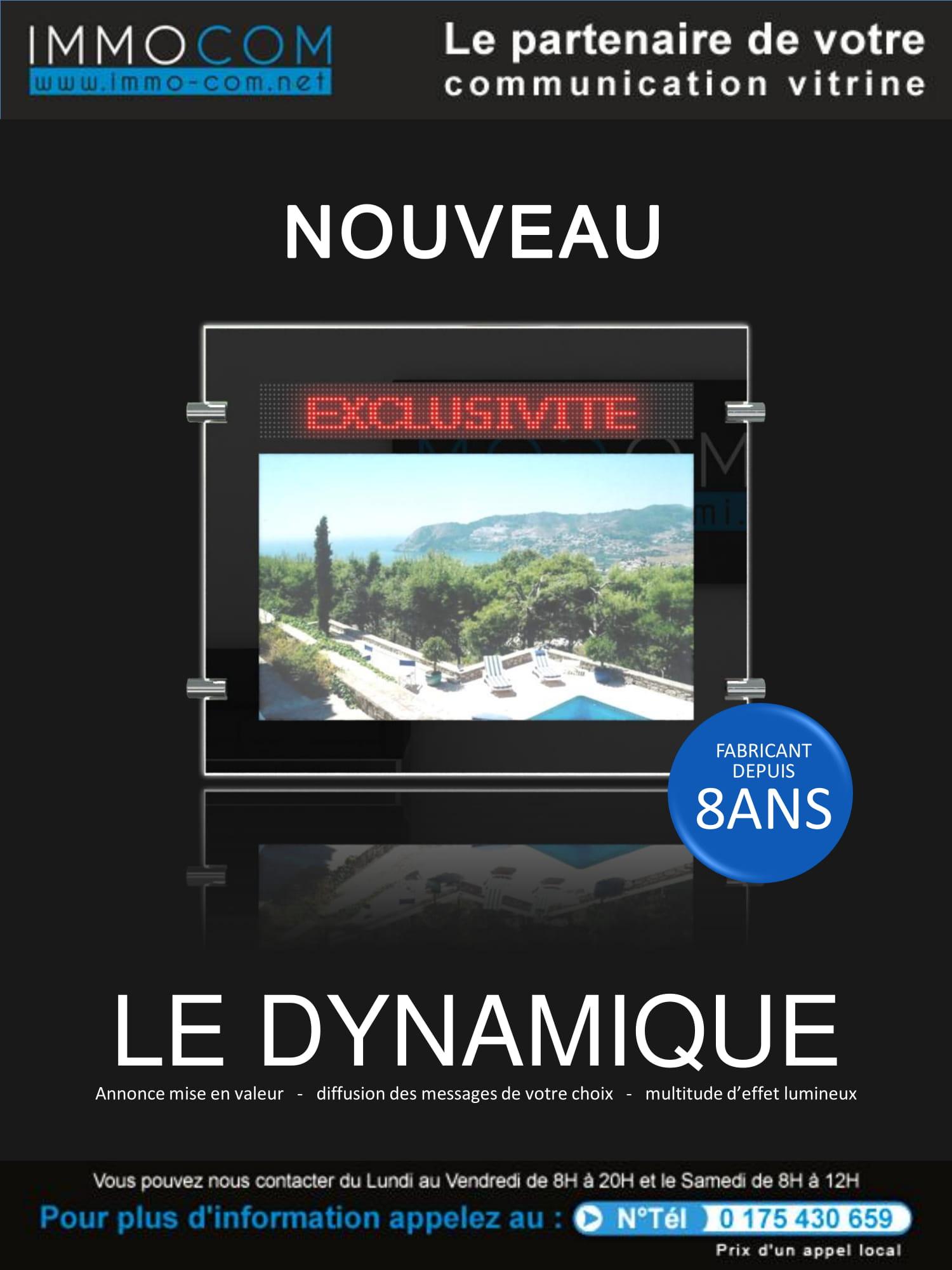 Vitrine dynamique sur écrans LCD pour agence immobilière